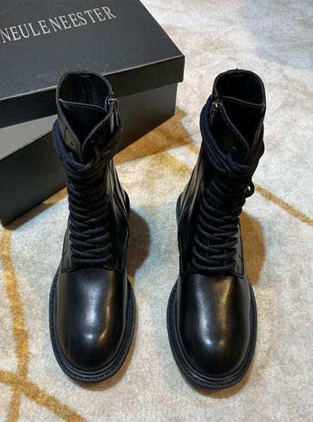 ANN 2020早秋最新网红同款黑色真皮高/低筒机车马丁靴