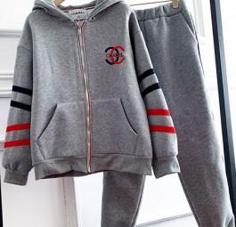 Chanel香奈儿中古刺绣字母拼接织带加绒厚长裤外套套装