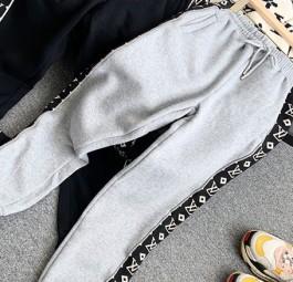 LV路易威登新款反光襟条老花织带休闲裤/黑/灰色