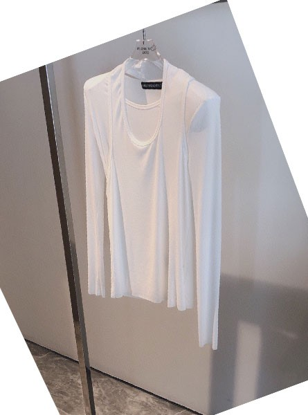 ANN 2020 AW早秋新款长T配背心法式两件套上衣黑/白色