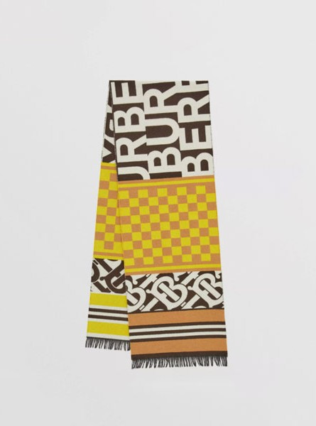 Burberry巴宝莉蒙太奇再生羊绒混纺提花围巾典藏米色