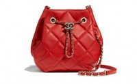 Chanel香奈儿红色猫头鹰款羊皮抽绳包