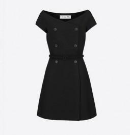 Dior迪奥羊毛桑蚕丝混纺A字型款黑色露肩连衣裙