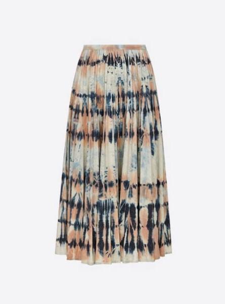 Dior迪奥2021早春秀场迷笛百褶裙Rose Céleste Tie & Dior图案