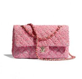 Chanel香奈儿当季新款经典斜纹软呢口盖包/粉红/黑/红