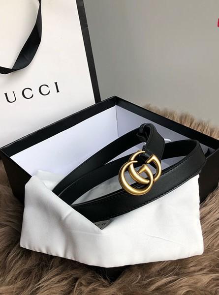 Gucci古驰2020春夏系列双G标识女士窄版黑色皮革腰带