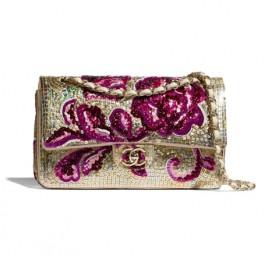 Chanel香奈儿当季新款经典亮片刺绣口盖包/紫与金/绿与黑