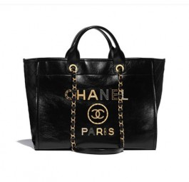 Chanel香奈儿小牛皮CHANEL PARIS字样双G标识黑色大号手提包