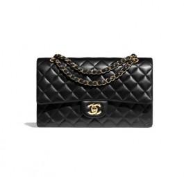 Chanel香奈儿经典羊皮革双G标识口盖包/金属黑/天蓝