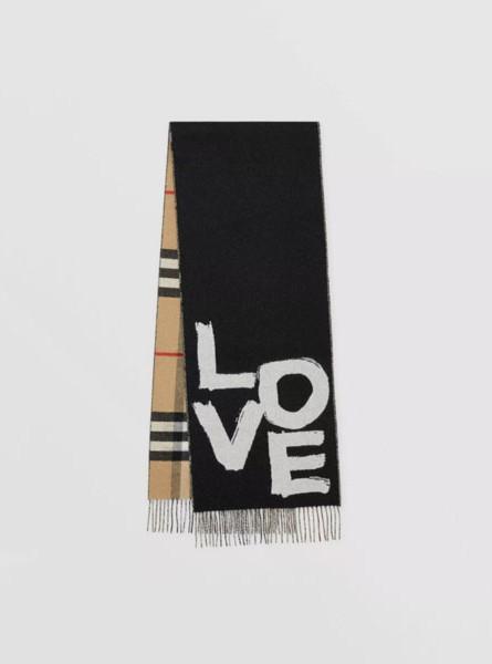 Burberry巴宝莉LOVE图案格纹提花羊绒围巾/黑色/典藏米色