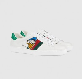 Gucci古驰Ace系列Disney联名唐老鸭印花白色男士运动鞋