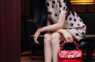唐嫣写真同款华伦天奴包包 valentino 高仿红色柳钉链条包