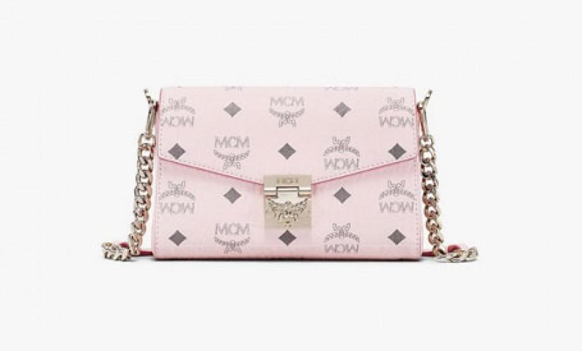 高仿MCM包包 MCM小号粉色Millie Visetos链条斜挎包