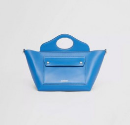 高仿burberry包包 巴宝莉a货包今日上新 新款蓝色迷你口袋托特包