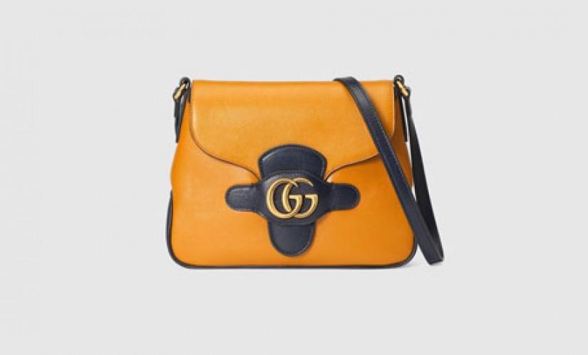 高仿Gucci包包 高仿a货包包 古驰新款双G小号焦橙色邮差包