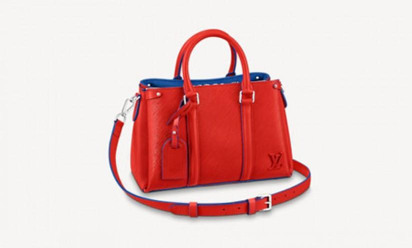 高仿LV包包 路易威登a货包包 新款红蓝SOUFFLOT BB手袋 托特包