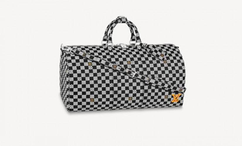 高仿LV包包 路易威登新款a货包 KEEPALL棋盘格渐变色男士旅行袋