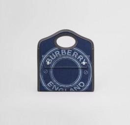 Burberry高仿包包 巴宝莉a货包包 21春季新款徽标图案牛仔布拼皮革口袋包