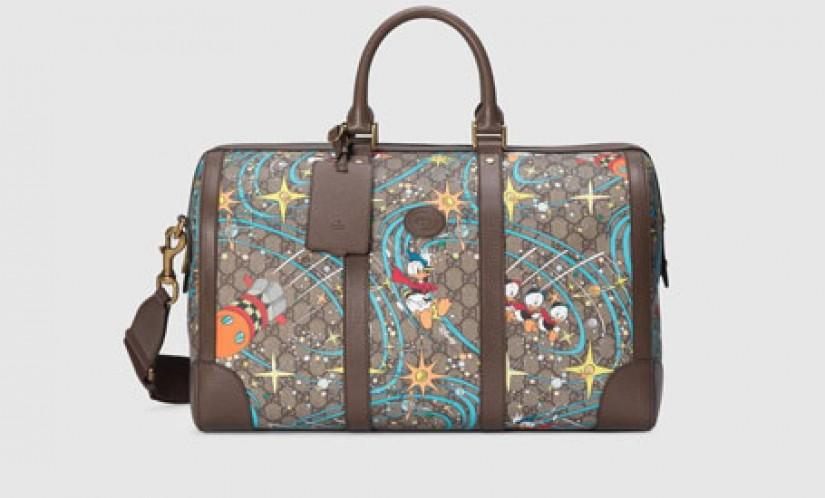 Gucci高仿包包 古驰a货包包 Disney迪士尼 x Gucci联名唐老鸭印花旅行包