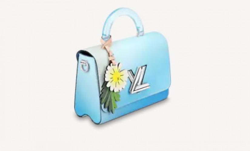 LV高仿包包 路易威登a货包包 LV夏日新款浅蓝色渐变Twist中号肩背包