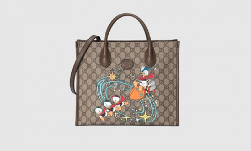 Gucci高仿包包 古驰a货包包 Disney迪士尼 x Gucci联名唐老鸭印花托特包