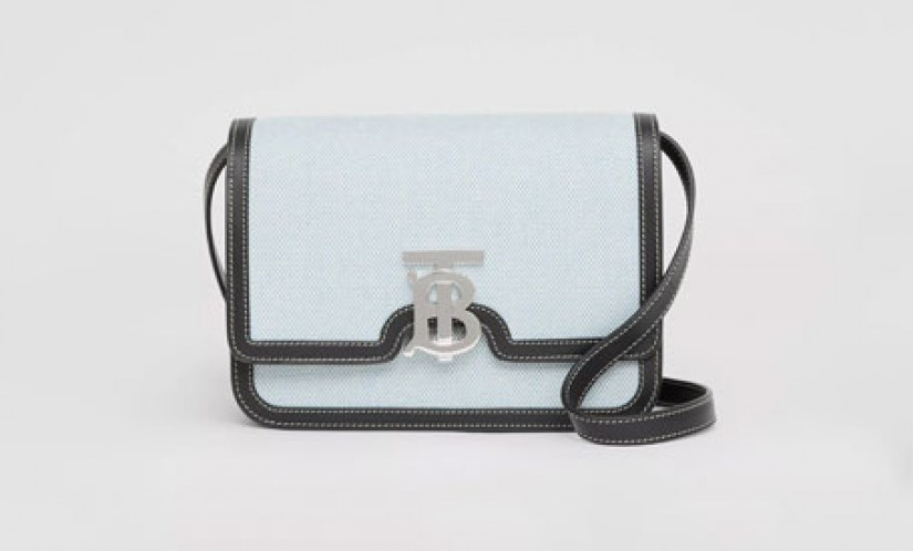 Burberry高仿包包 巴宝莉a货包包 21春季新款TB标识双色帆布拼皮革锁扣包