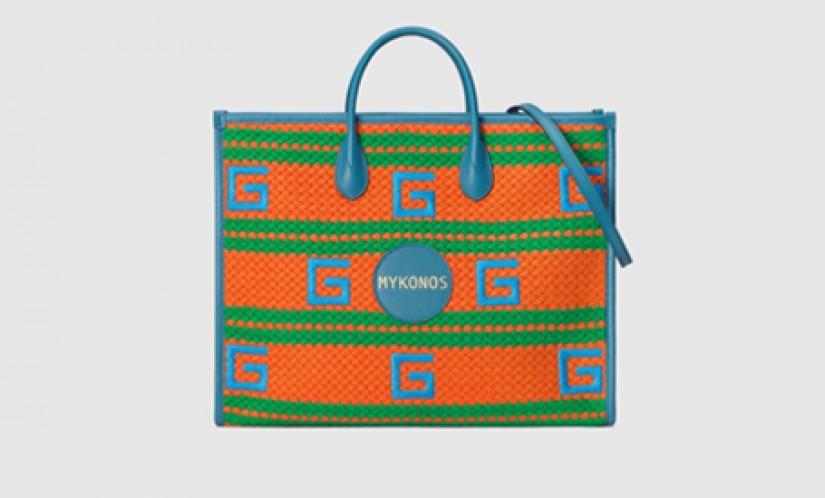 Gucci高仿包包 古驰a货包包 2021夏日度假系列Mykonos橙绿色条纹彩色托特包