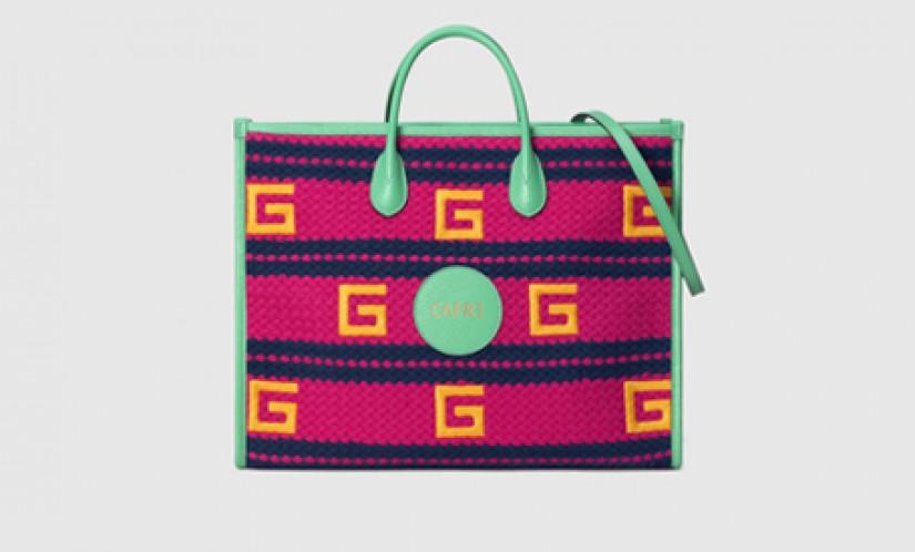 Gucci高仿包包 古驰a货包包 2021夏日度假系列Capri紫红色条纹彩色托特包
