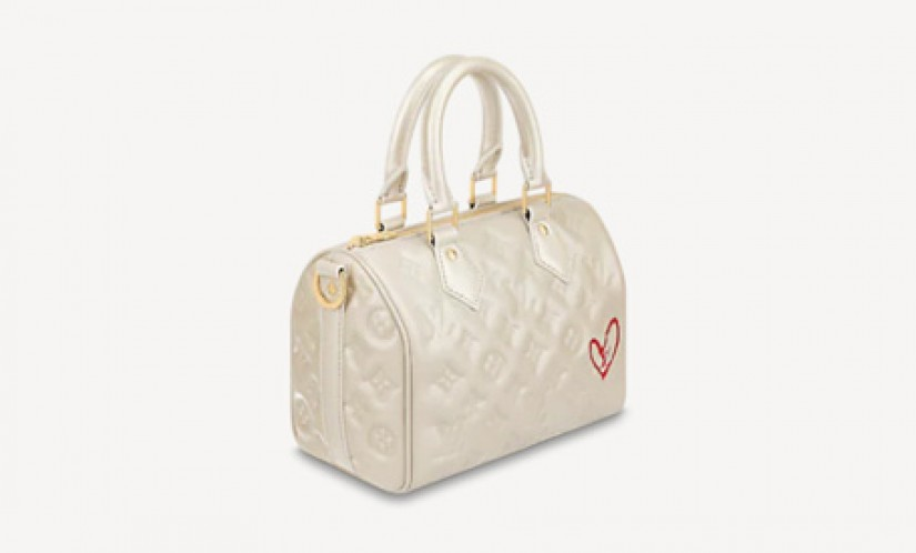 LV高仿包包 路易威登a货包包 Speedy 22 心形图案手袋枕头包