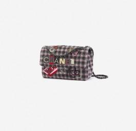 Chanel高仿包包 香奈儿a货包包 coco字母刺绣格子口盖包