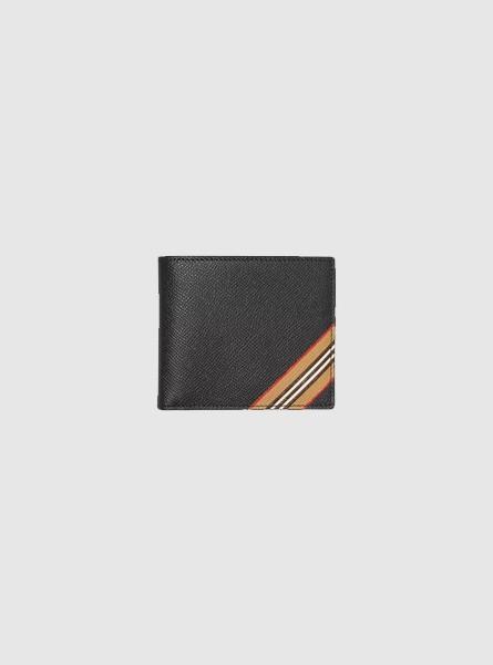 Burberry高仿包包 巴宝莉a货包包 标志性条纹印花双折钱夹钱包