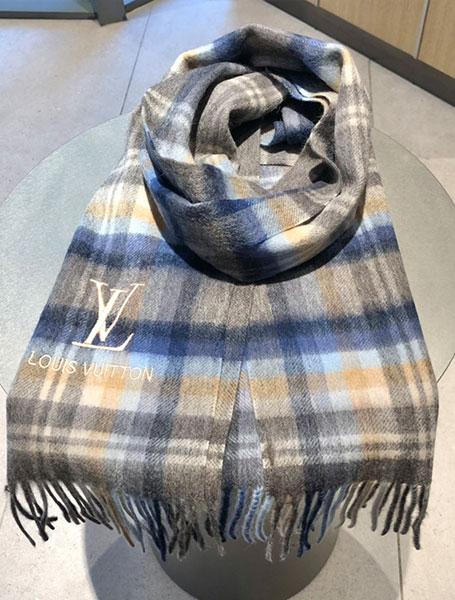 LV路易威登2020新款logo刺绣羊绒条纹围巾/灰/蓝色