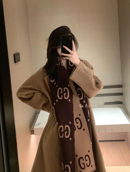 Gucci古驰GG标识提花羊毛真丝围巾/棕色配米色