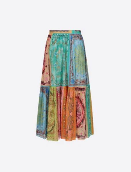 Dior迪奥多色棉质Dior In Lights图案长款百褶裙