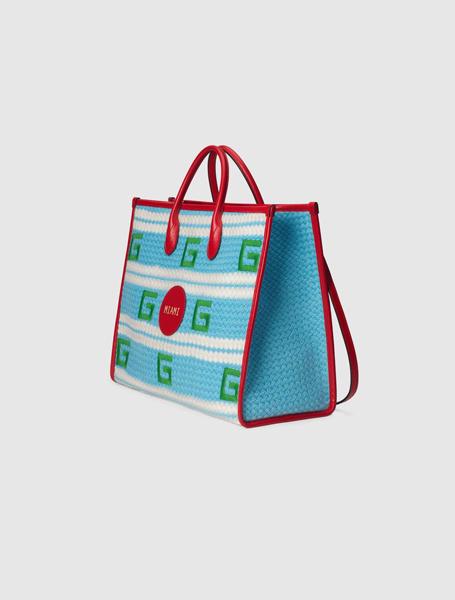 Gucci高仿包包 古驰a货包包 2021夏日度假系列Miami水蓝色条纹彩色托特包