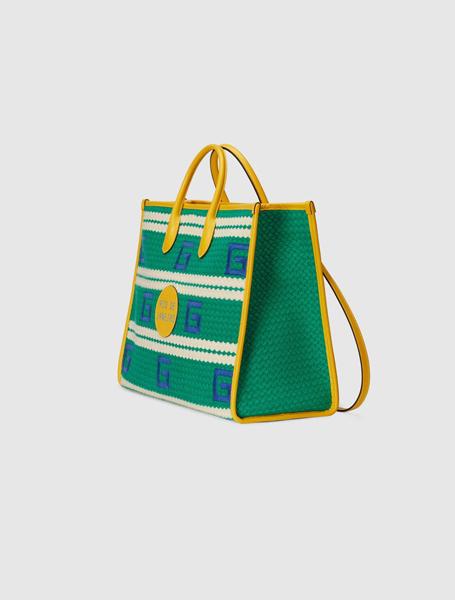 Gucci高仿包包 古驰a货包包 2021夏日度假系列Rio De Janeiro绿白色条纹彩色托特包