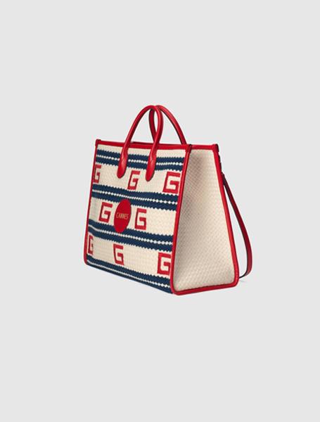 Gucci高仿包包 古驰a货包包 2021夏日度假系列Cannes米白色条纹彩色托特包