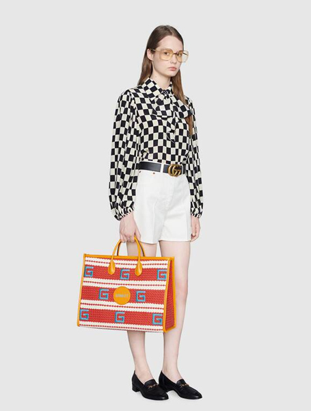Gucci高仿包包 古驰a货包包 2021夏日度假系列Hawaii红白色条纹彩色托特包
