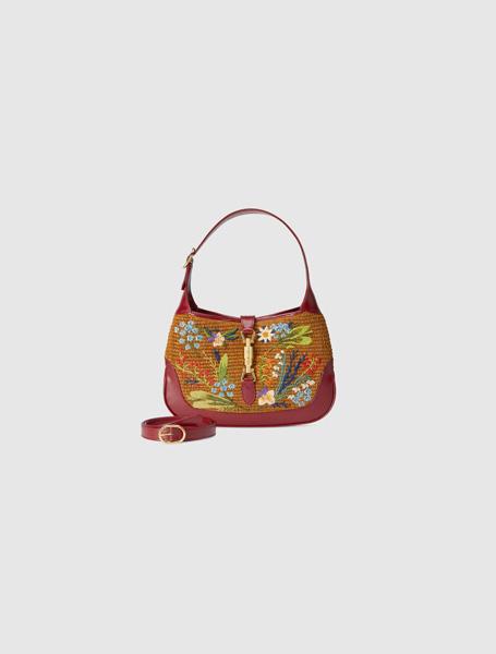 Gucci高仿包包 古驰a货包包 Jackie 1961系列草编花卉刺绣手袋